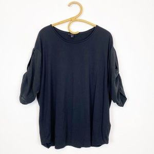 COS | Black Silk Sleeve Short Sleeve Top